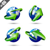Collection of defference 3D globe and world map. With green shine arrow wrap it vector illustration eps10 Royalty Free Stock Photos