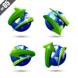 Collection of defference 3D globe and world map. Collection of defference 3D icons set globe and world map with green shine arrow wrap it vector illustration Royalty Free Stock Photos