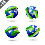 Collection of defference 3D globe and world map. Collection of defference 3D icons set globe and world map with red shine arrow wrap it vector illustration eps10 Stock Photos