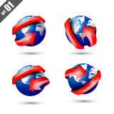 Collection of defference 3D globe and world map with red shine. Collection of defference 3D icons set globe and world map with red shine arrow wrap it vector stock illustration