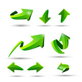 Collection of defference 3D green shine arrow vector. Eps10 Royalty Free Stock Photo