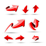 Collection of defference 3D red shine arrow vector. Eps10 Royalty Free Stock Photos
