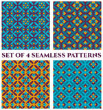 Collection of 4 delicate damask decorative seamless patterns with geometric ornament of blue, teal, orange and violet shades Stock Photos
