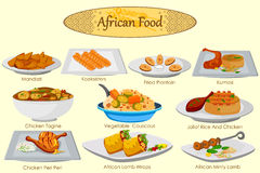 Collection of delicious African food Stock Photos