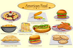 Collection of delicious American food Stock Images