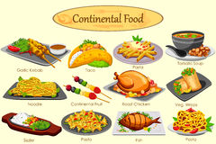 Collection of delicious Continental food. In vector Royalty Free Stock Photos