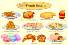 Collection of delicious French food royalty free illustration