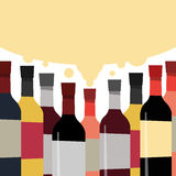 A collection of delicious wines. Bottles of alcoholic beverage. Stock Photo