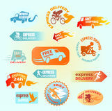 Collection of delivery badges. Shipping signs set, truck, bike, courier, scooter,train, ship. Labels illustration vector  on green background. Worldwide Royalty Free Stock Photo