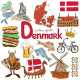 Collection of Denmark icons Royalty Free Stock Photo