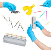 Collection of dental tools Royalty Free Stock Images