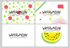 Collection design business card on watermelon subject. Layout business card with healthy food for vegetarian store. Set collection design template business card Royalty Free Stock Image