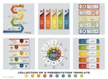 Collection of 6 design colorful presentation templates. EPS10. Set of infographics design vector and business icons. For your design and sample text royalty free illustration