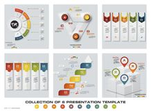 Collection of 6 design colorful presentation templates. EPS10. Set of infographics design vector and business icons. Royalty Free Stock Photo