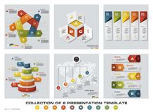 Collection of 6 design colorful presentation templates. EPS10. Set of infographics design vector and business icons. Stock Image