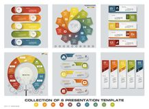 Collection of 6 design colorful presentation templates. EPS10. Set of infographics design vector and business icons. Royalty Free Stock Images