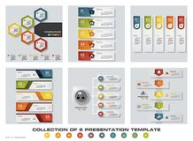 Collection of 6 design colorful presentation templates. EPS10. Set of infographics design vector and business icons. Stock Images