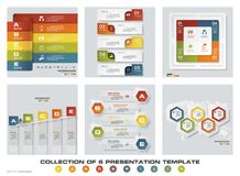 Collection of 6 design colorful presentation templates. EPS10. Set of infographics design vector and business icons. For your design and sample text Stock Photo