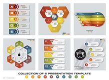 Collection of 6 design colorful presentation templates. EPS10. Set of infographics design vector and business icons. Royalty Free Stock Image
