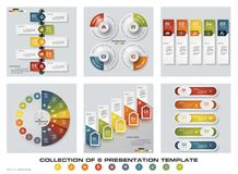 Collection of 6 design colorful presentation templates. EPS10. Set of infographics design vector and business icons. Stock Photography