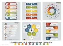 Collection of 6 design colorful presentation templates. EPS10. Set of infographics design vector and business icons. Stock Photo