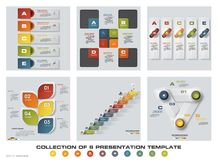 Collection of 6 design colorful presentation templates. EPS10. Set of infographics design vector and business icons. Royalty Free Stock Photography