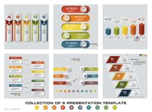 Collection of 6 design colorful presentation templates. EPS10. Set of infographics design vector and business icons. Royalty Free Stock Photos