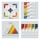 Collection of 4 design colorful presentation templates. Vector Background. Royalty Free Stock Photos