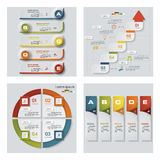 Collection of 4 design colorful presentation templates. Vector Background. Royalty Free Stock Images