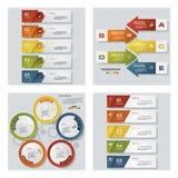 Collection of 4 design colorful presentation templates. Vector Background. Stock Photos