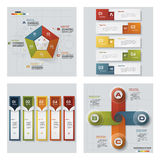 Collection of 4 design colorful presentation templates. Vector Background. Stock Photography