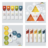 Collection of 4 design colorful presentation templates. Vector Background. Stock Photo