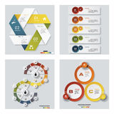 Collection of 4 design colorful presentation templates. Vector Background. Royalty Free Stock Image