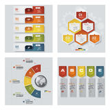 Collection of 4 design colorful presentation templates. Vector Background. Stock Images