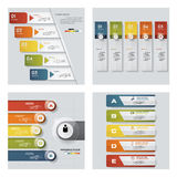 Collection of 4 design colorful presentation templates. Vector Background. Stock Photos