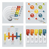Collection of 4 design colorful presentation templates. Vector Background. Stock Image