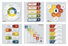 Collection of 6 design colorful presentation templates. Vector Background. Royalty Free Stock Images