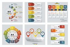 Collection of 6 design colorful presentation templates. Vector Background. Stock Images