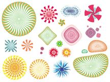 Collection of design elements. Colorful collection of blends, stars, flakes and other shapes for your design Stock Illustration