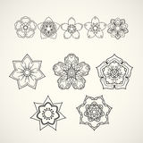 Collection of design elements. Black flower icons isolated on wh. Ite background. Vector illustration Stock Photography