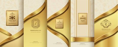 Collection of design elements,labels,icon,frames, for packaging. Design of luxury products.for perfume,soap,wine, lotion. Made with golden foil.Isolated on Stock Photos