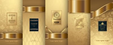 Collection of design elements,labels,icon,frames, for packaging,. Design of luxury products.for perfume,soap,wine, lotion. Made with golden foil.Isolated on Royalty Free Stock Photography