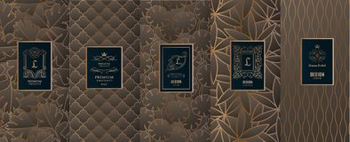 Collection of design elements,labels,icon,frames, for packaging,design of luxury products.for perfume,soap,wine, lotion.Made with. Golden foil.Isolated on stock illustration