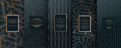 Collection of design elements,labels,icon,frames, for packaging,design of luxury products.for perfume,soap,wine, lotion.Made with. Golden foil. on geometric vector illustration