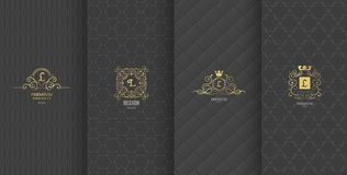 Collection of design elements,labels,icon,frames, for packaging,design of luxury products.Made with golden foil.Isolated on brown. Background. vector vector illustration