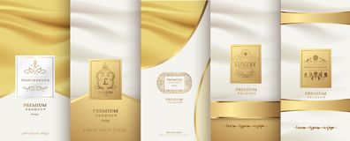 Collection of design elements,labels,icon,frames, for packaging. Design of luxury products.for perfume,soap,wine, lotion. Made with golden foil.Isolated on Royalty Free Stock Image