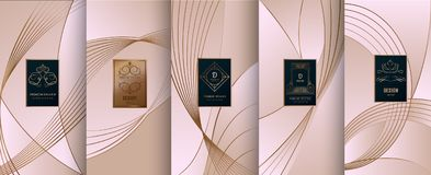 Collection of design elements,labels,icon,frames, for packaging,design of luxury products.for perfume,soap,wine, lotion.Made with. Golden foil.Isolated on line royalty free illustration
