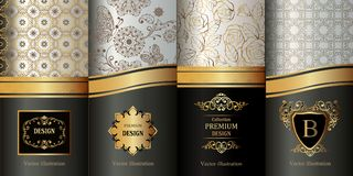 Collection of design elements,labels,icon,frames, for packaging, luxury background. stock illustration