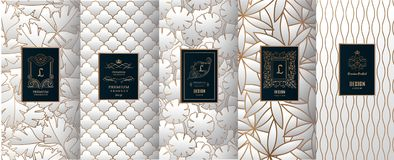 Collection of design elements,labels,icon,frames. For packaging,design of luxury products.for perfume,soap,wine, lotion. Made with golden foil.Isolated on Stock Photo