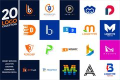 Collection of Design Logo Business Creative. 20 Collection Set of Vector Design Logo Business Creative,corporate,logotype,bitcoin,branding media Royalty Free Stock Image